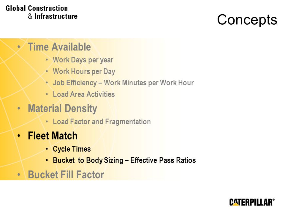 Concepts Time Available Work Days per year Work Hours per Day Job Efficiency – Work Minutes per Work Hour Load Area Activities Material Density Load F
