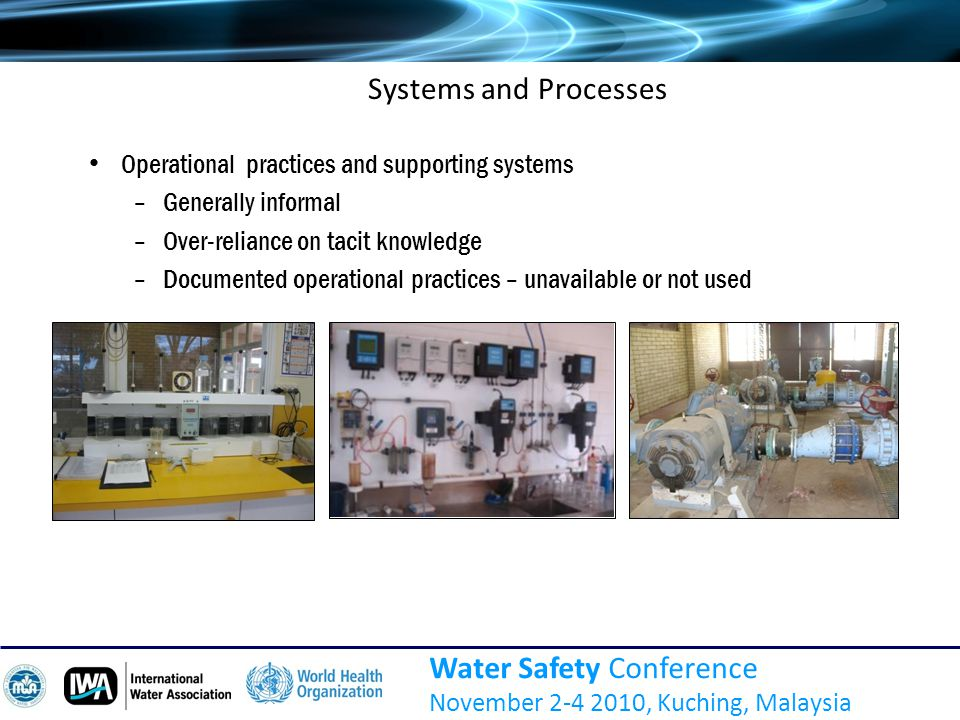 Water Safety Conference November 2-4 2010, Kuching, Malaysia Systems and Processes Operational practices and supporting systems –Generally informal –Over-reliance on tacit knowledge –Documented operational practices – unavailable or not used