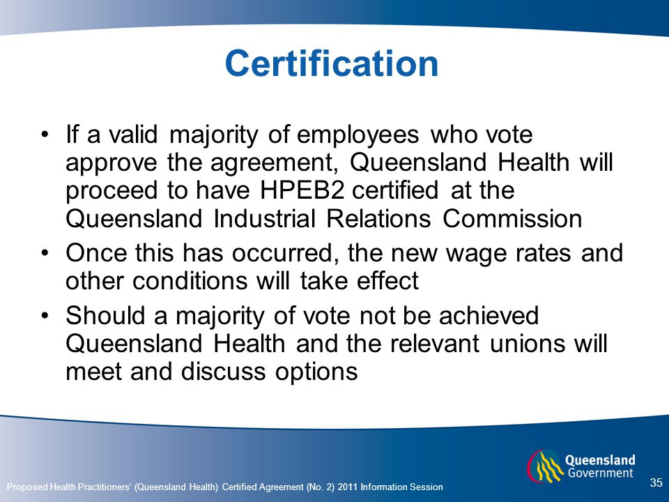 Proposed Health Practitioners' (Queensland Health) Certified Agreement (No.