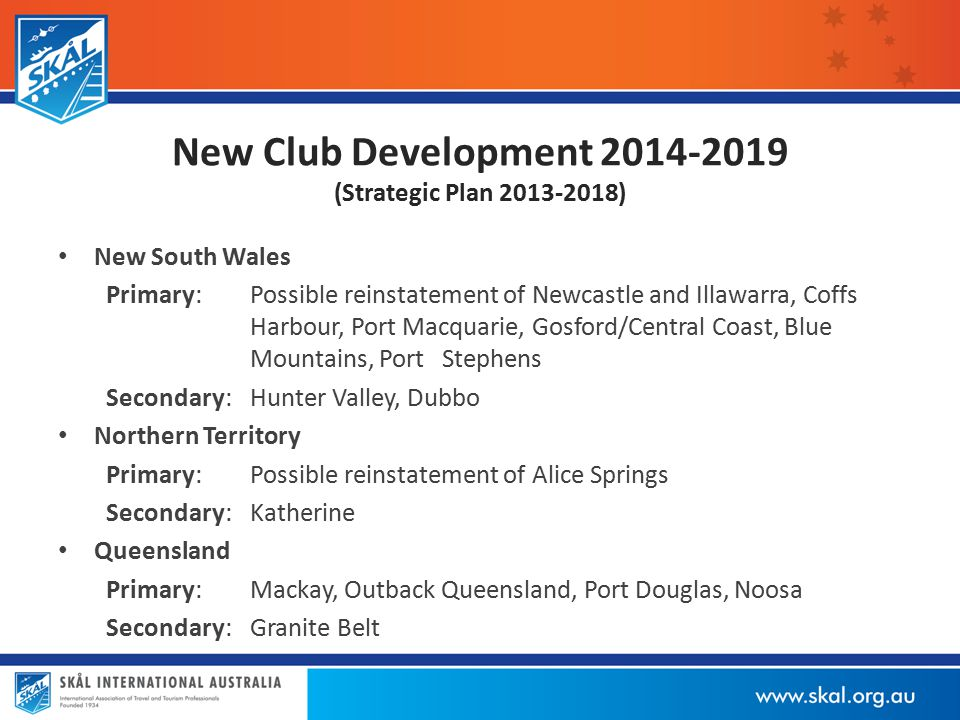 New Club Development 2014-2019 (Strategic Plan 2013-2018) New South Wales Primary:Possible reinstatement of Newcastle and Illawarra, Coffs Harbour, Port Macquarie, Gosford/Central Coast, Blue Mountains, Port Stephens Secondary:Hunter Valley, Dubbo Northern Territory Primary:Possible reinstatement of Alice Springs Secondary:Katherine Queensland Primary:Mackay, Outback Queensland, Port Douglas, Noosa Secondary:Granite Belt