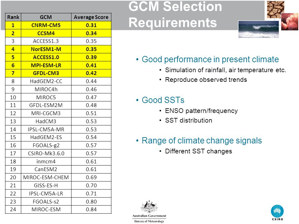 GCM Selection Requirements Good performance in present climate Simulation of rainfall, air temperature etc.