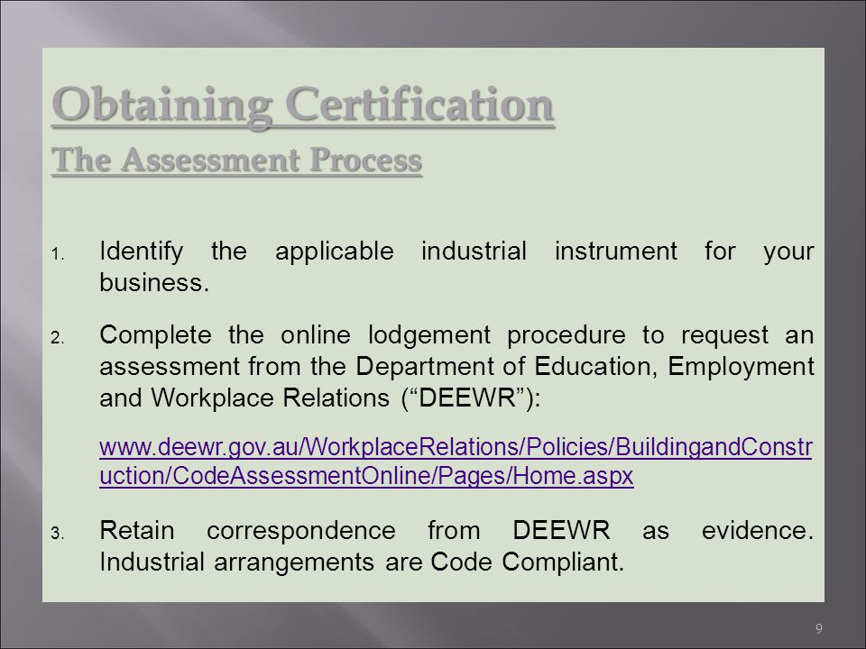 Obtaining Certification The Assessment Process 1.