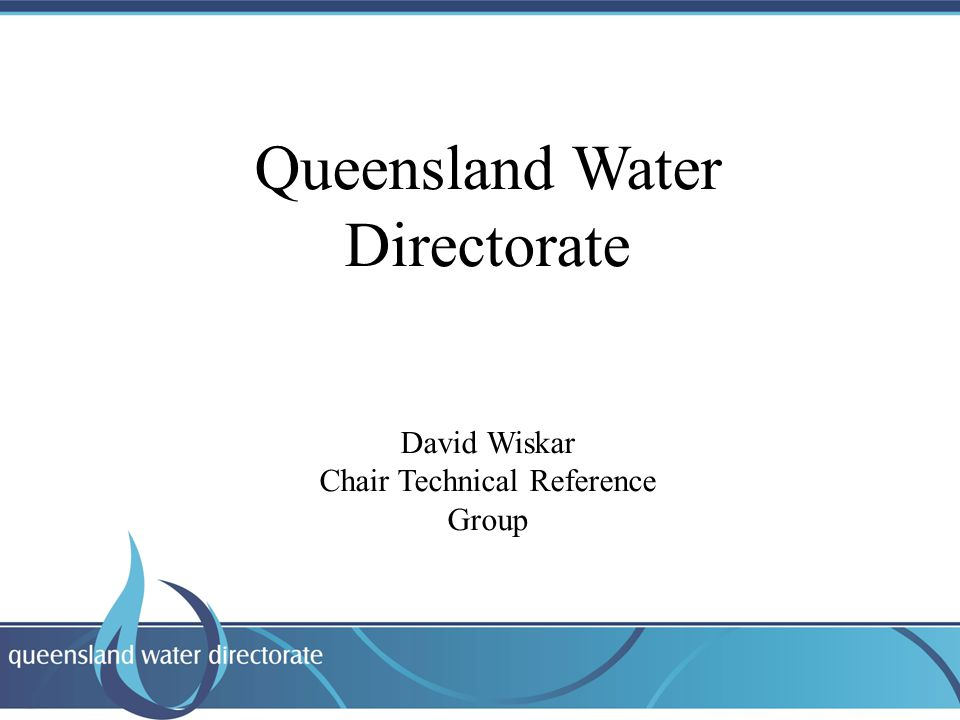 Heading Text Queensland Water Directorate David Wiskar Chair Technical Reference Group