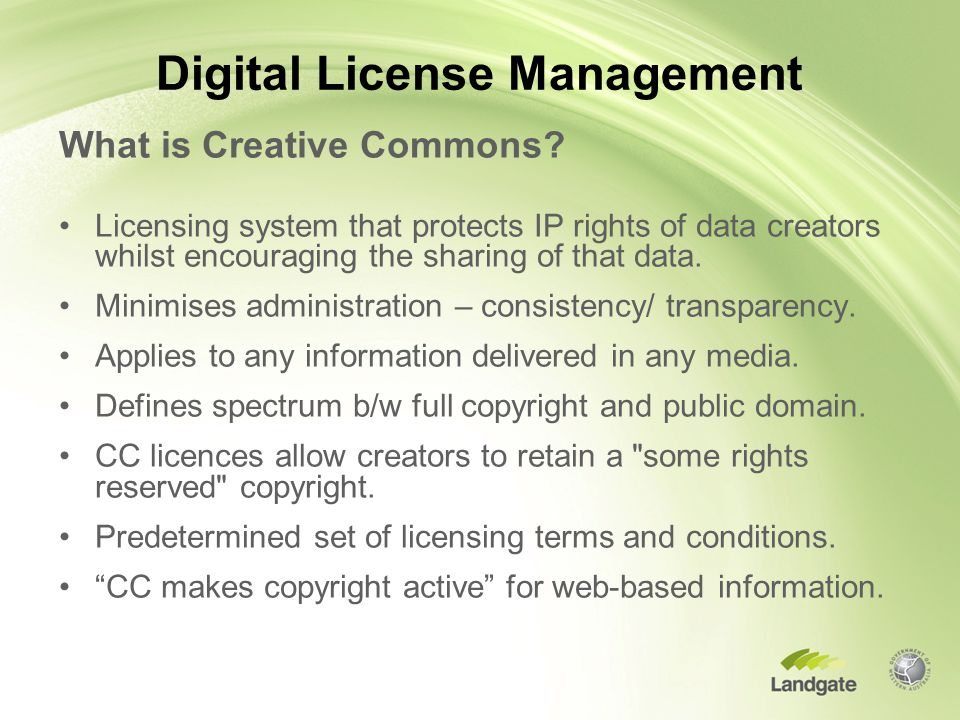 Digital License Management What is Creative Commons.