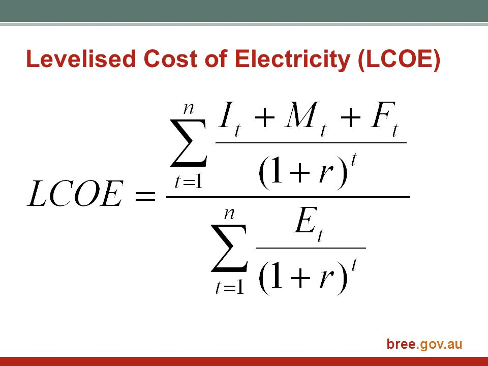 bree.gov.au Levelised Cost of Electricity (LCOE)