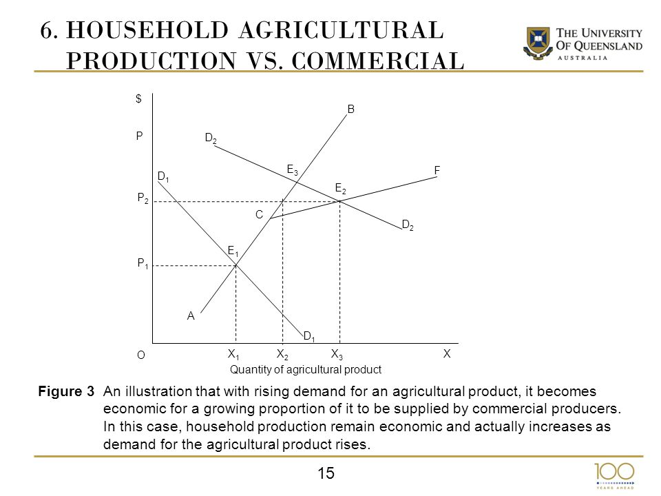 15 $ P2P2 P P1P1 O X1X1 X2X2 X3X3 X D1D1 D1D1 A B D2D2 D2D2 E1E1 C E3E3 E2E2 F Quantity of agricultural product Figure 3An illustration that with rising demand for an agricultural product, it becomes economic for a growing proportion of it to be supplied by commercial producers.