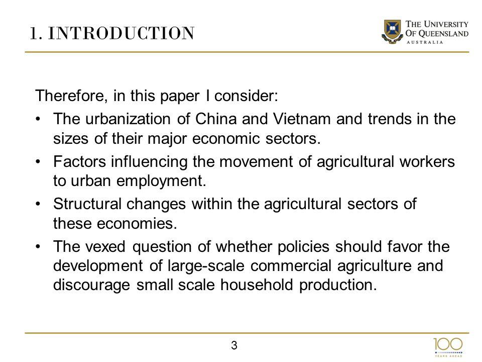 4 2.URBANIZATION Since beginning their market reforms, both China and Vietnam have experienced rapid urbanization.