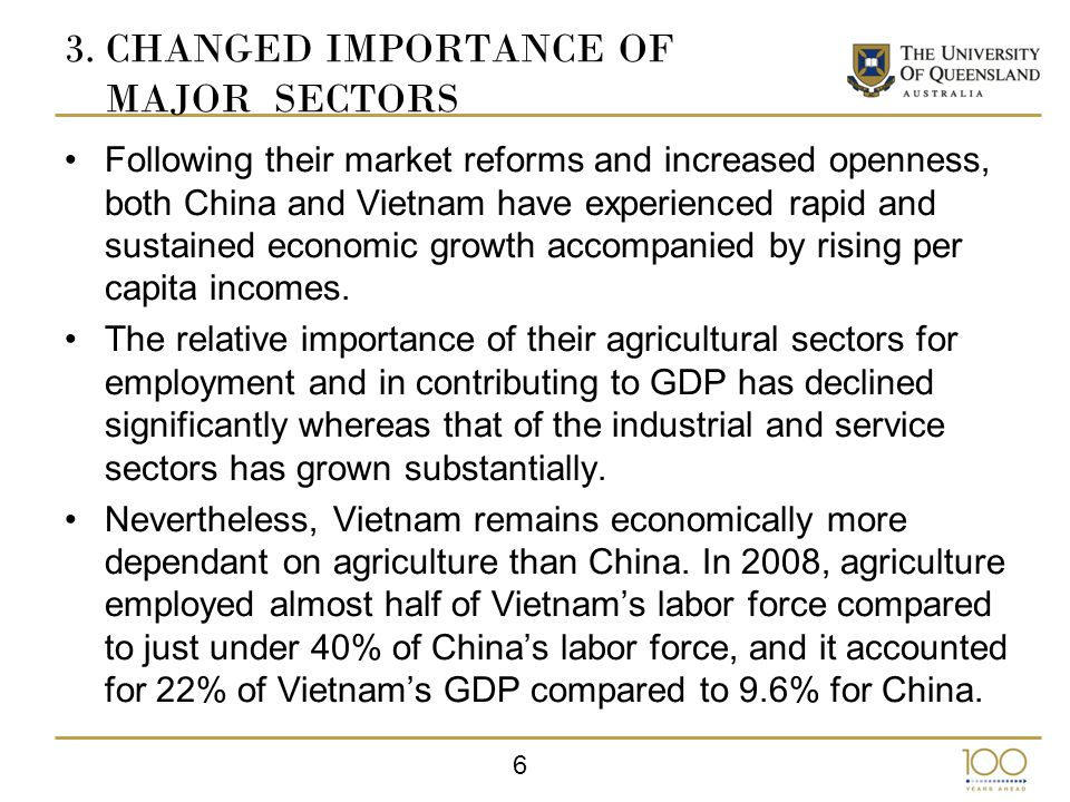 17 7.CONCLUSION Significant structural change has occurred in agriculture in China and Vietnam.