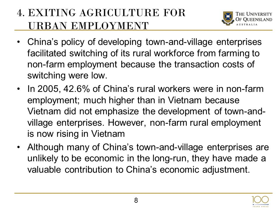 19 7.CONCLUSION In transition, there can be economic value in having both types of agricultural suppliers; household and commercial ones.