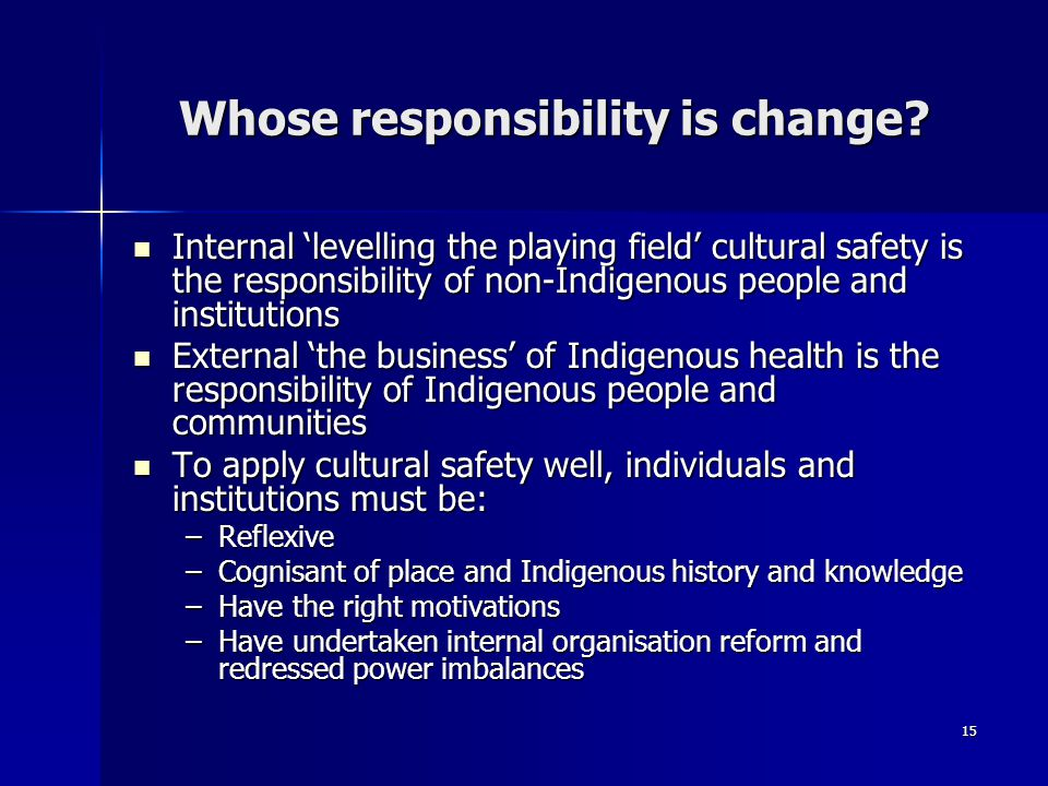 15 Whose responsibility is change.