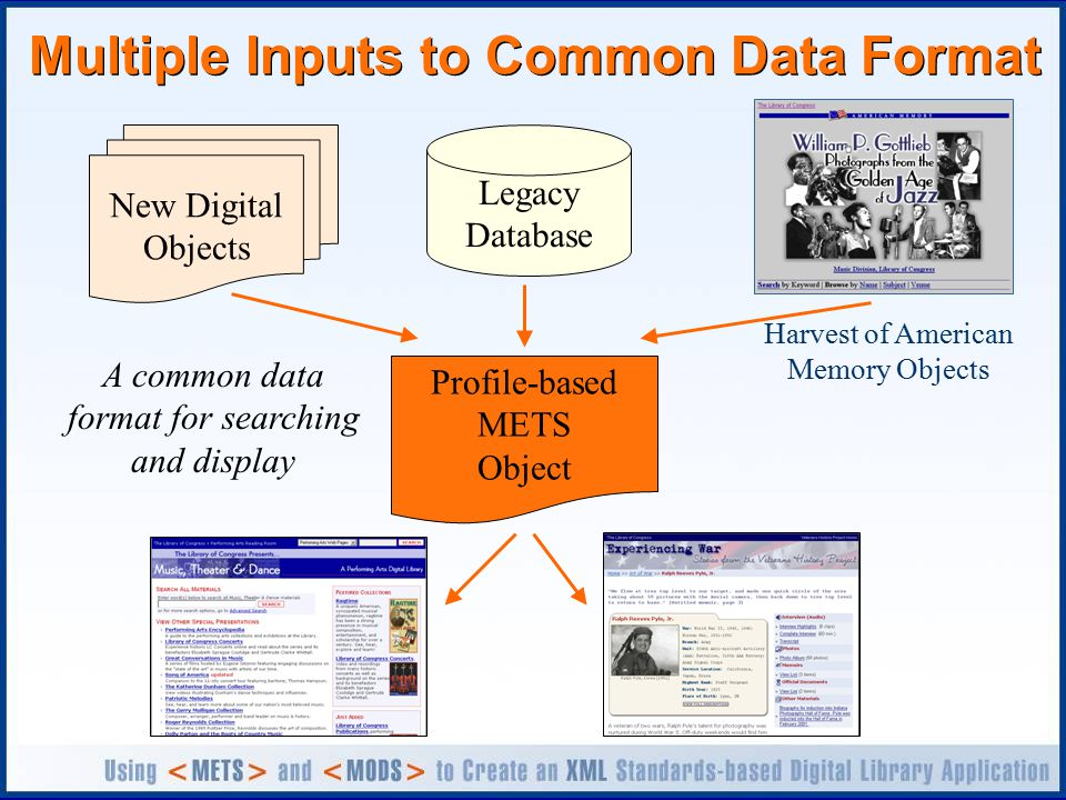 Multiple Inputs to Common Data Format New Digital Objects Legacy Database Profile-based METS Object A common data format for searching and display Harvest of American Memory Objects