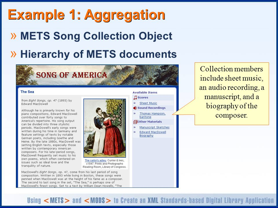 Example 1: Aggregation » METS Song Collection Object » Hierarchy of METS documents Collection members include sheet music, an audio recording, a manuscript, and a biography of the composer.