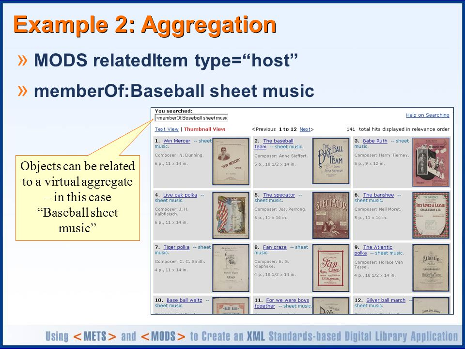 Example 2: Aggregation » MODS relatedItem type= host » memberOf:Baseball sheet music Objects can be related to a virtual aggregate – in this case Baseball sheet music