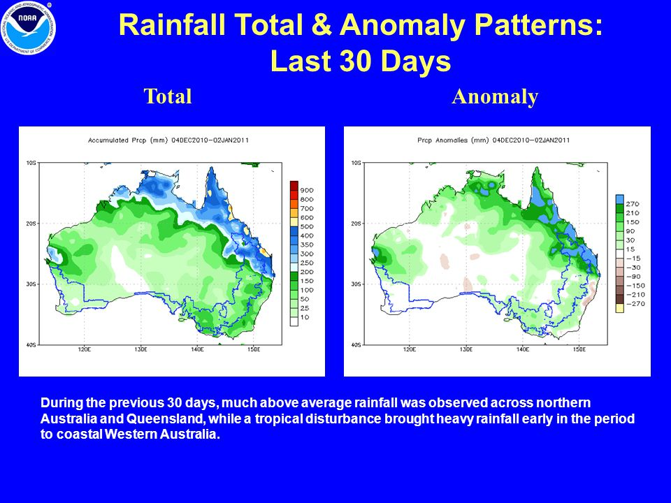 Rainfall Total & Anomaly Patterns: Last 30 Days TotalAnomaly During the previous 30 days, much above average rainfall was observed across northern Aus