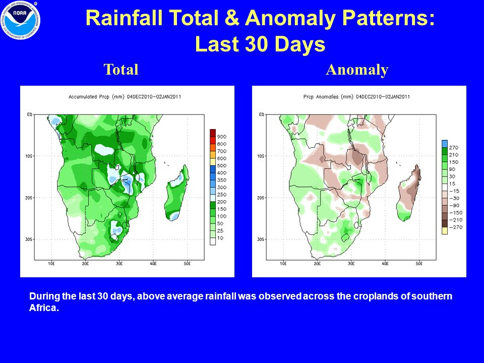 Rainfall Total & Anomaly Patterns: Last 30 Days TotalAnomaly During the last 30 days, above average rainfall was observed across the croplands of sout