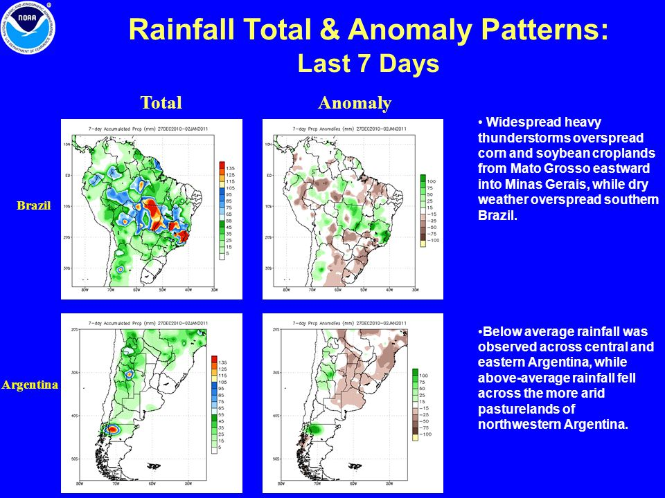 Rainfall Total & Anomaly Patterns: Last 7 Days Total Argentina Brazil Anomaly Widespread heavy thunderstorms overspread corn and soybean croplands from Mato Grosso eastward into Minas Gerais, while dry weather overspread southern Brazil.