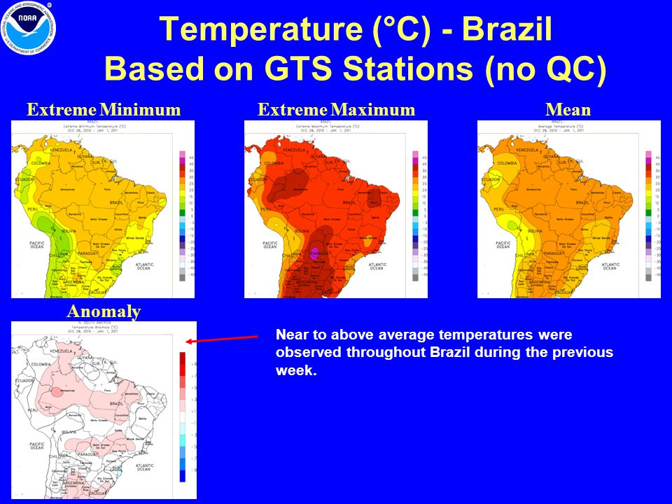 Temperature (°C) - Brazil Based on GTS Stations (no QC) Extreme Minimum Anomaly Extreme MaximumMean Near to above average temperatures were observed t