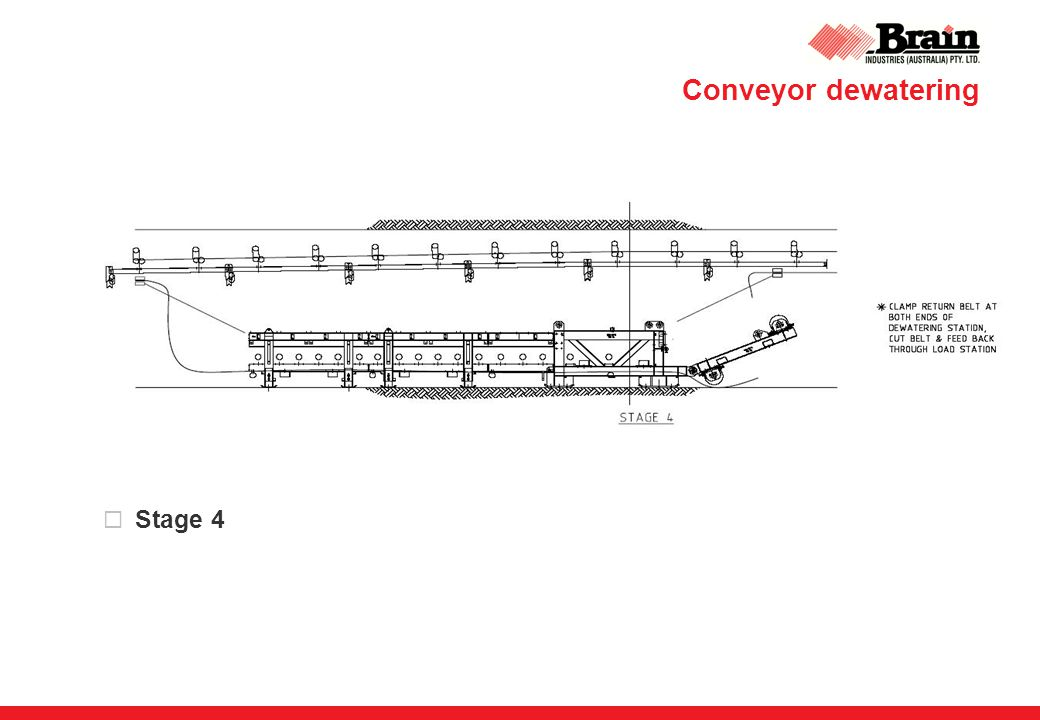 Conveyor dewatering  Stage 4
