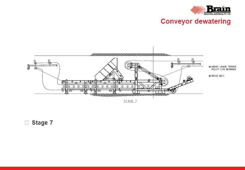 Conveyor dewatering  Stage 7