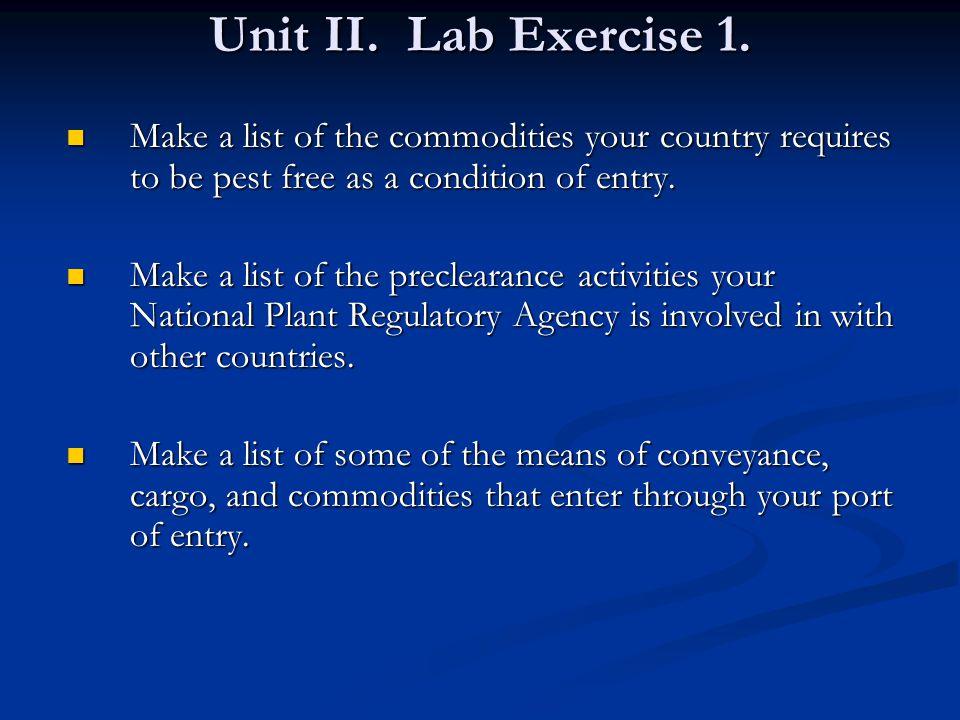 Unit II. Lab Exercise 1.