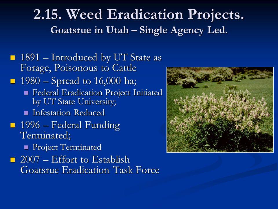 2.15. Weed Eradication Projects. Goatsrue in Utah – Single Agency Led.