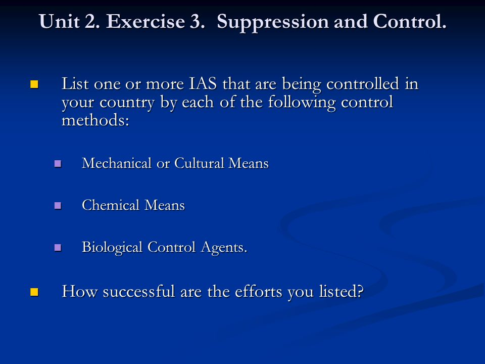 Unit 2. Exercise 3. Suppression and Control.