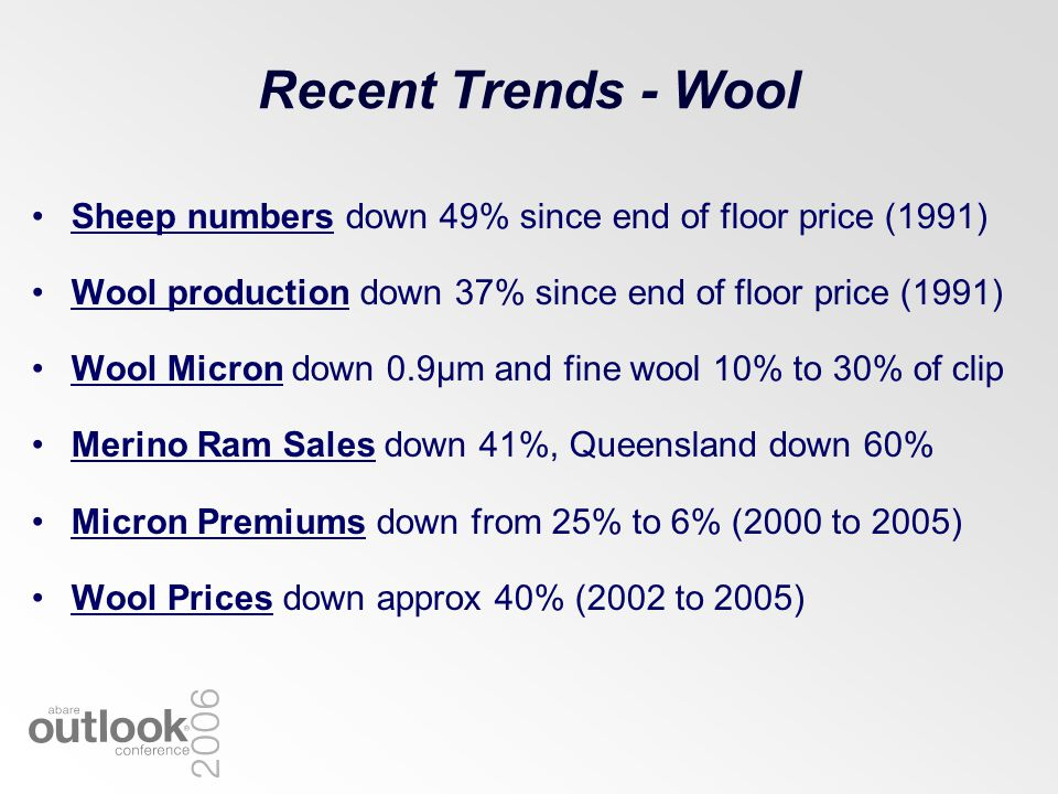 Recent Trends - Wool Sheep numbers down 49% since end of floor price (1991) Wool production down 37% since end of floor price (1991) Wool Micron down 0.9µm and fine wool 10% to 30% of clip Merino Ram Sales down 41%, Queensland down 60% Micron Premiums down from 25% to 6% (2000 to 2005) Wool Prices down approx 40% (2002 to 2005)