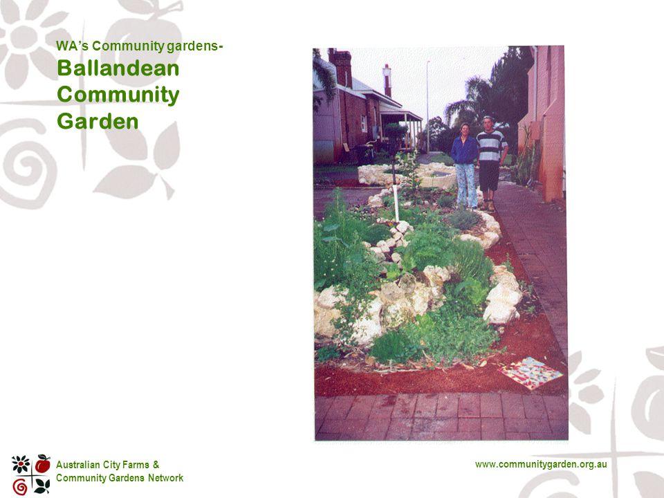 Australian City Farms & Community Gardens Network www.communitygarden.org.au WA's Community gardens- Ballandean Community Garden