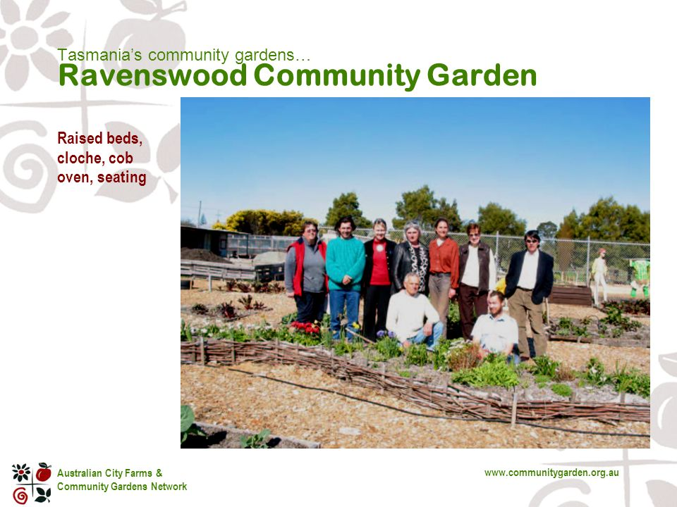 Australian City Farms & Community Gardens Network www.communitygarden.org.au Tasmania's community gardens… Ravenswood Community Garden Raised beds, cloche, cob oven, seating