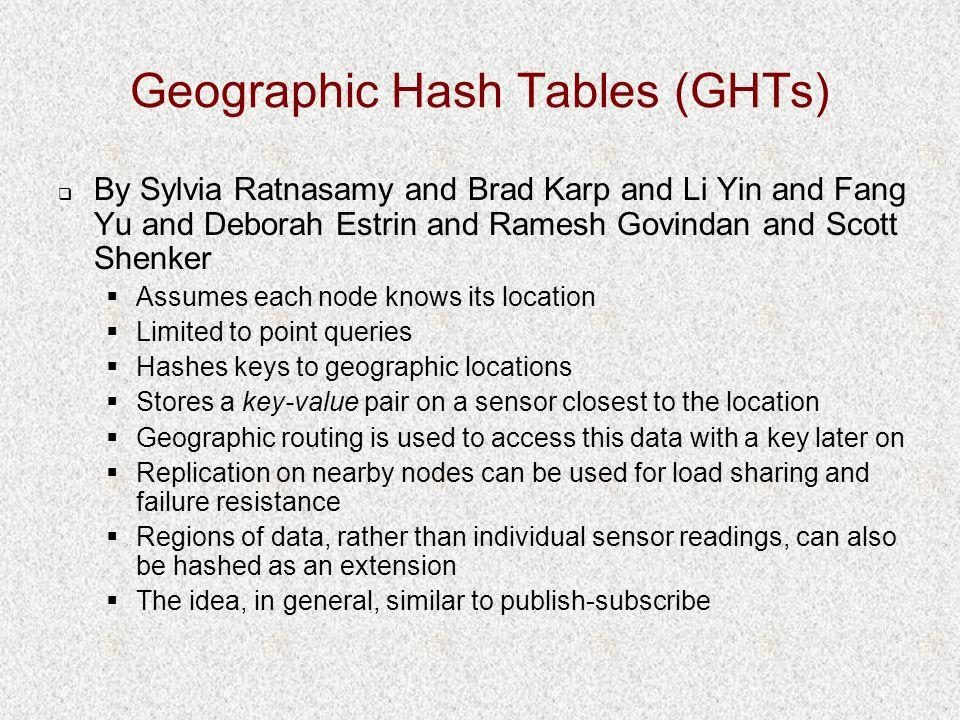 Geographic Hash Tables (GHTs)  By Sylvia Ratnasamy and Brad Karp and Li Yin and Fang Yu and Deborah Estrin and Ramesh Govindan and Scott Shenker  As