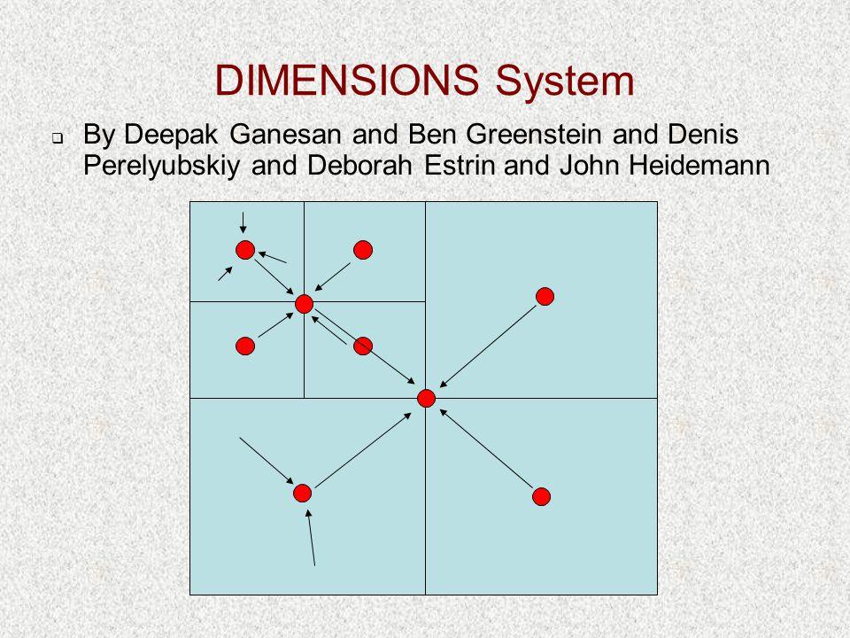 DIMENSIONS System  By Deepak Ganesan and Ben Greenstein and Denis Perelyubskiy and Deborah Estrin and John Heidemann
