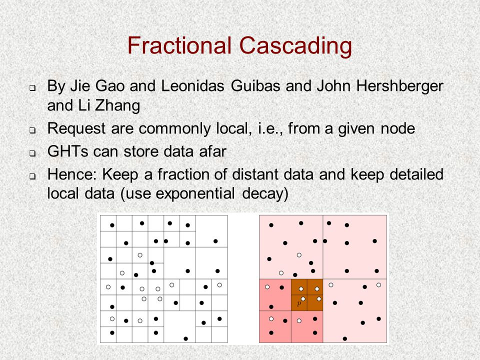 Fractional Cascading  By Jie Gao and Leonidas Guibas and John Hershberger and Li Zhang  Request are commonly local, i.e., from a given node  GHTs can store data afar  Hence: Keep a fraction of distant data and keep detailed local data (use exponential decay)