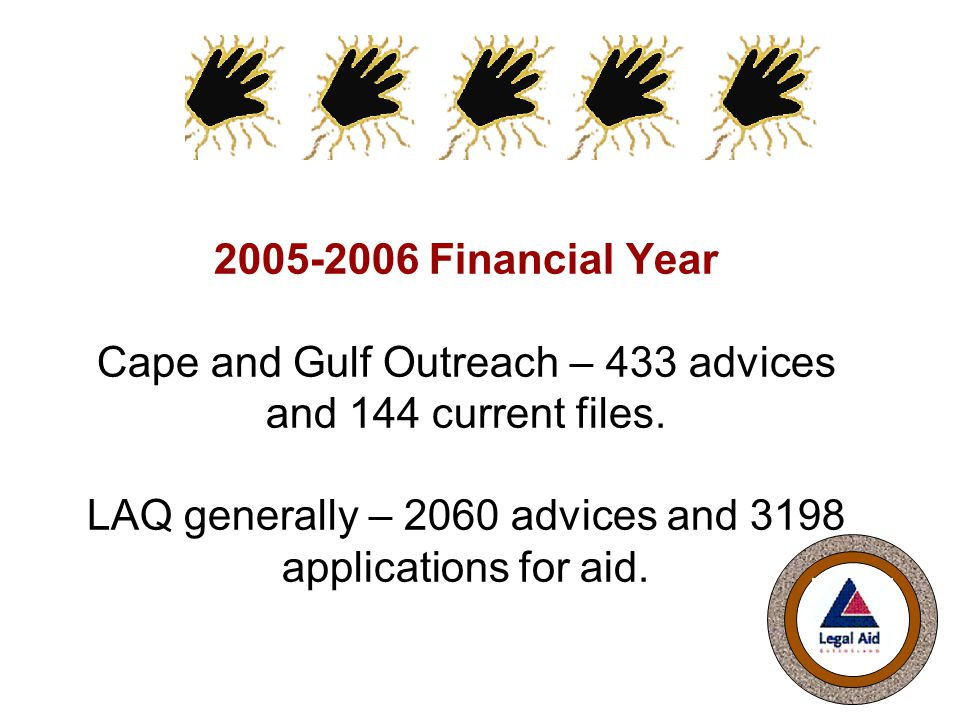 2005-2006 Financial Year Cape and Gulf Outreach – 433 advices and 144 current files.