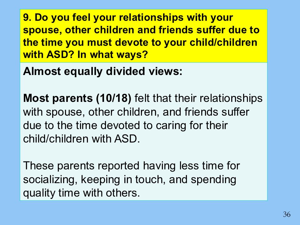 9. Do you feel your relationships with your spouse, other children and friends suffer due to the time you must devote to your child/children with ASD?