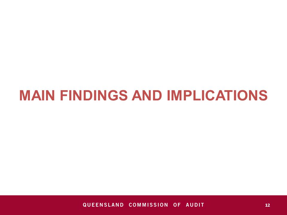 MAIN FINDINGS AND IMPLICATIONS 12