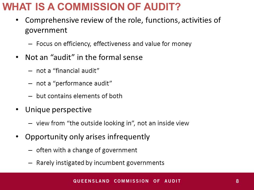 WHAT IS A COMMISSION OF AUDIT.