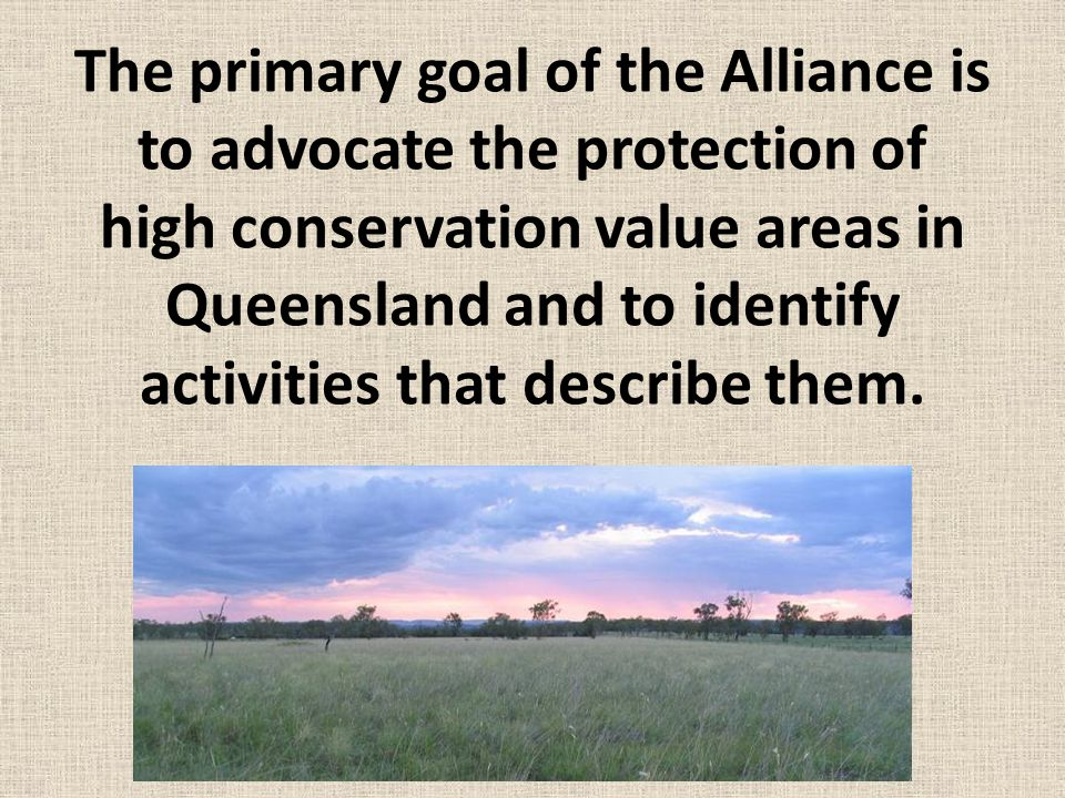 The primary goal of the Alliance is to advocate the protection of high conservation value areas in Queensland and to identify activities that describe