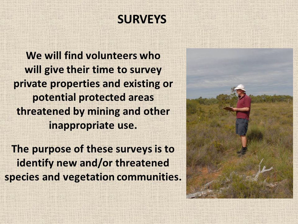 We will find volunteers who will give their time to survey private properties and existing or potential protected areas threatened by mining and other