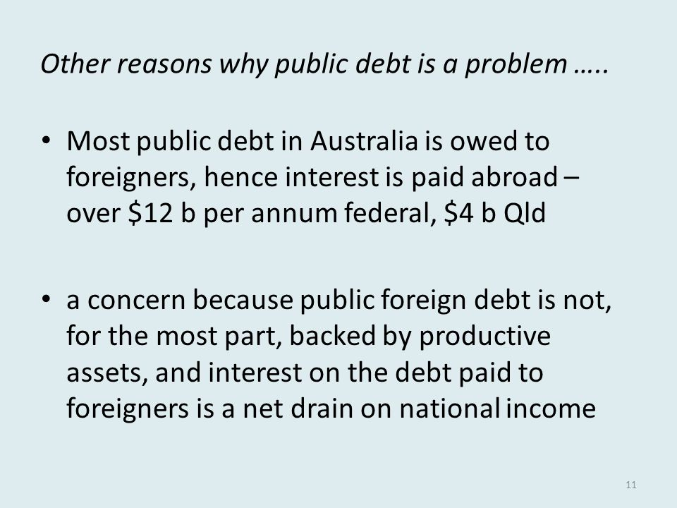 Other reasons why public debt is a problem …..