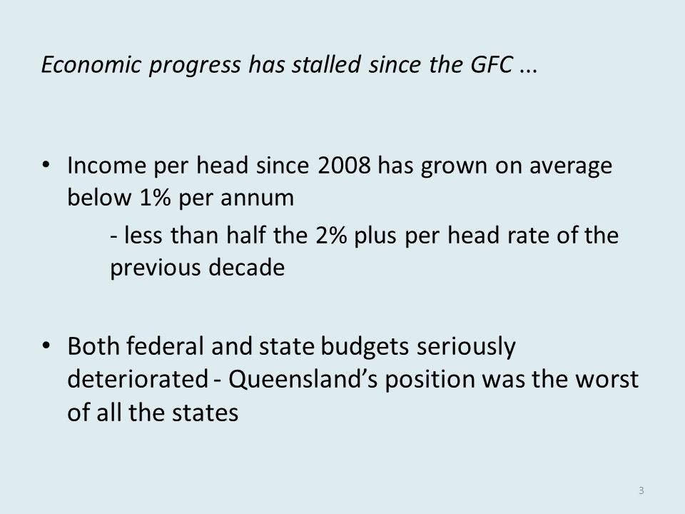Economic progress has stalled since the GFC...