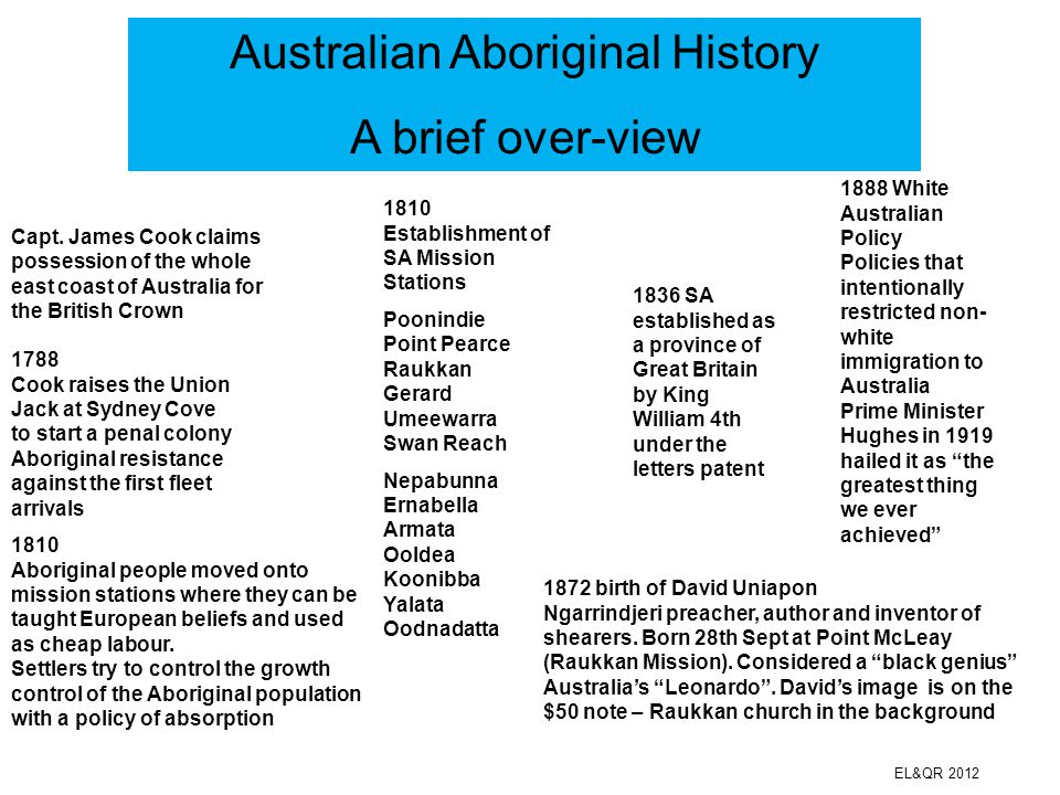 Australian Aboriginal History A brief over-view EL&QR 2012 1770 Capt. James Cook claims possession of the whole east coast of Australia for the Britis