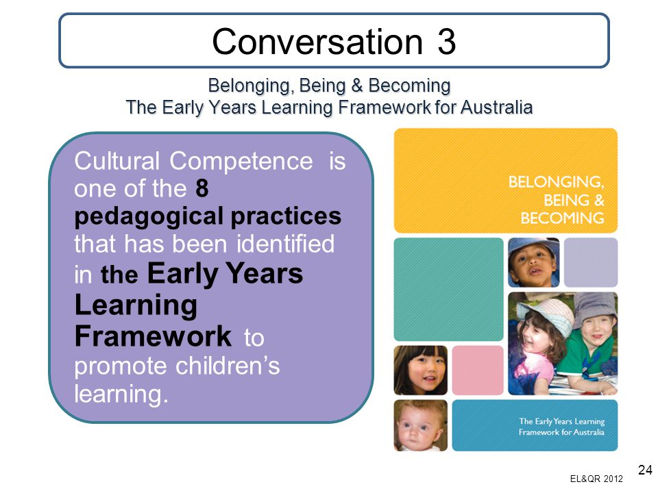 Belonging, Being & Becoming The Early Years Learning Framework for Australia Cultural Competence is one of the 8 pedagogical practices that has been i