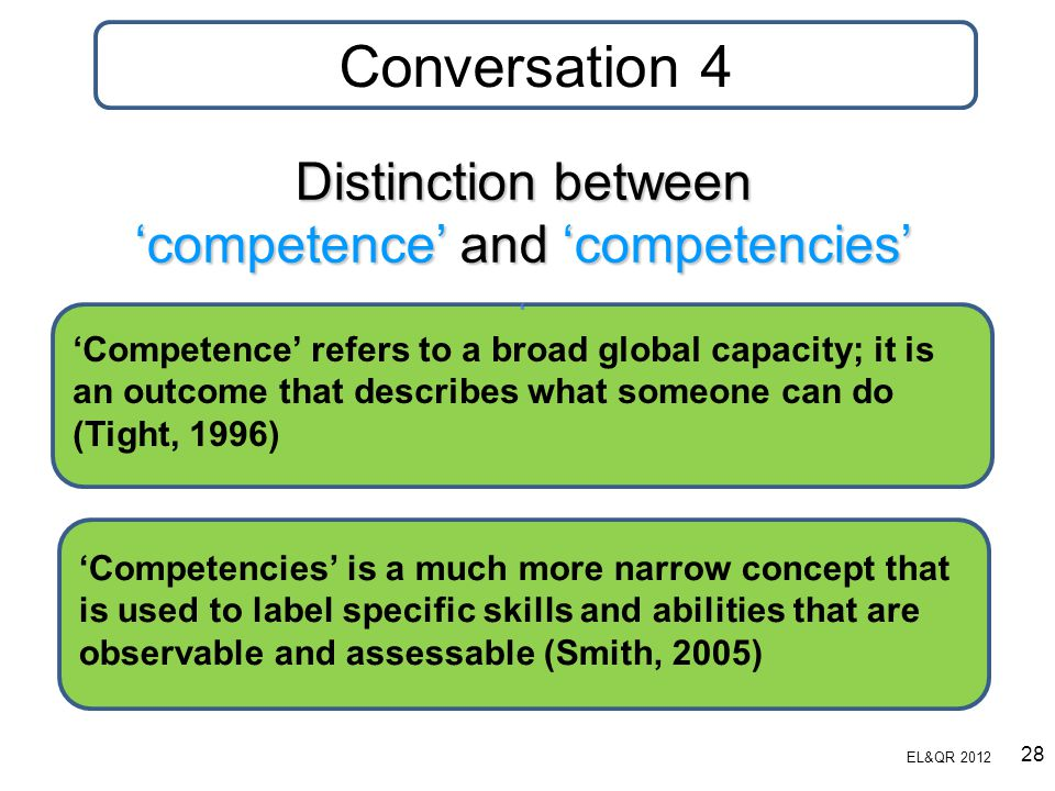 Distinction between 'competence' and 'competencies' ' 'Competence' refers to a broad global capacity; it is an outcome that describes what someone can