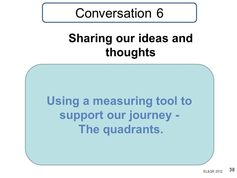 Using a measuring tool to support our journey - The quadrants. Sharing our ideas and thoughts EL&QR 2012 Conversation 6 38