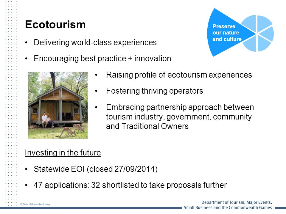 Ecotourism Delivering world-class experiences Encouraging best practice + innovation Raising profile of ecotourism experiences Fostering thriving oper