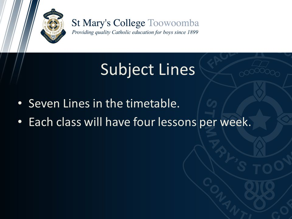 Subject Lines Seven Lines in the timetable. Each class will have four lessons per week.