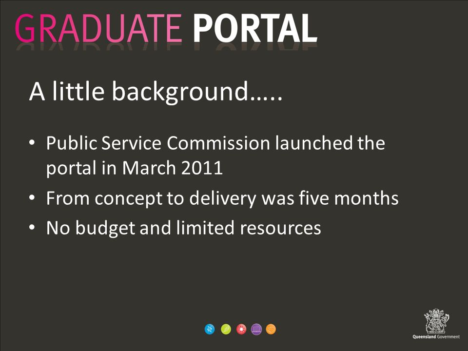 A little background….. Public Service Commission launched the portal in March 2011 From concept to delivery was five months No budget and limited reso