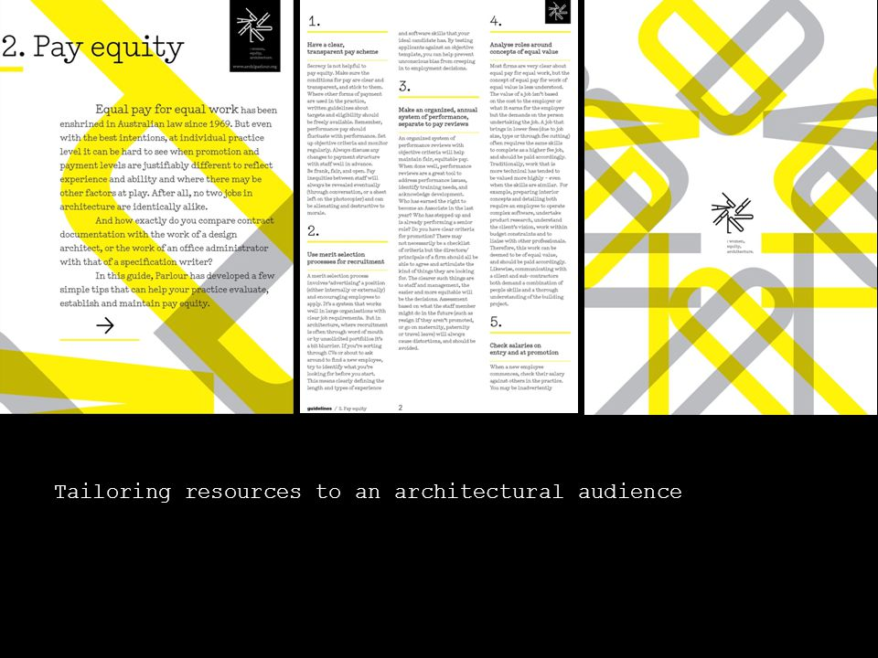 Tailoring resources to an architectural audience