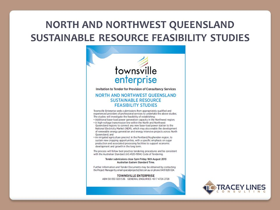 NORTH AND NORTHWEST QUEENSLAND SUSTAINABLE RESOURCE FEASIBILITY STUDIES