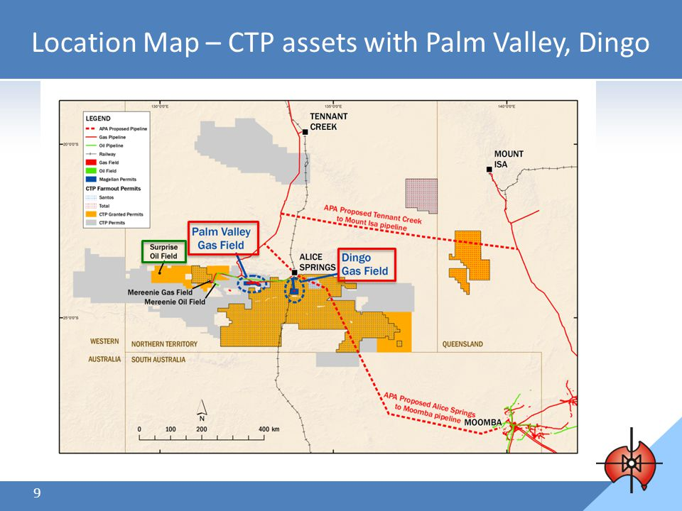 9 Location Map – CTP assets with Palm Valley, Dingo